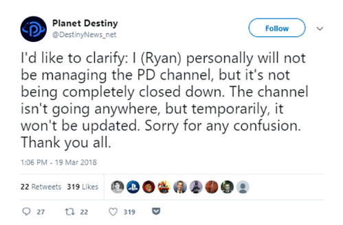 Planet Destiny tweet